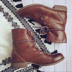 Brown vegan leather Sherpa lined combat boots